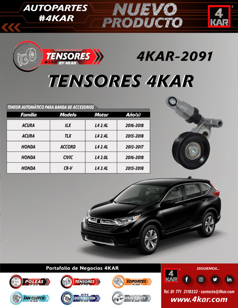 Tensor automático para banda de accesorio Acura Honda Honda civic Honda cv-r  4KAR-2091 4KAR