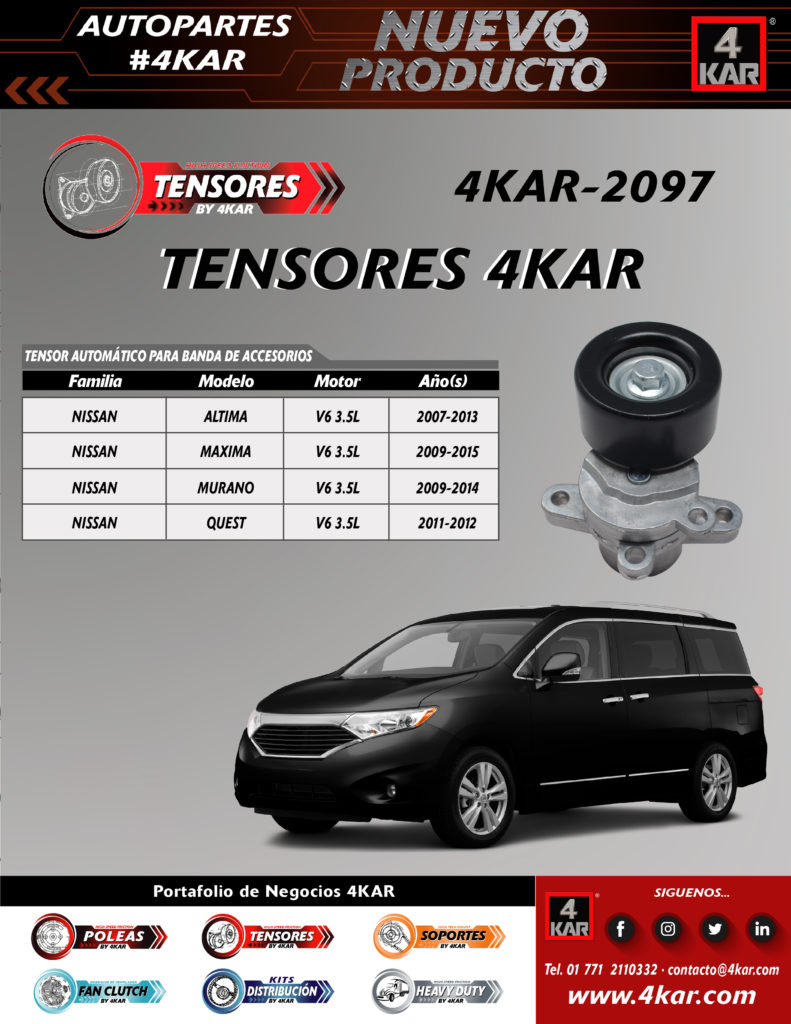 Tensor automático para banda de accesorio Nissan,  4KAR-2093 4KAR