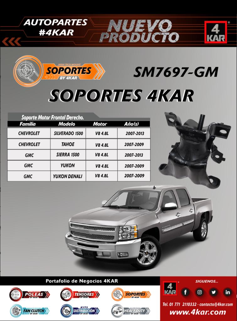 Soporte de motor frontal derecho para Chevrolet Silverado 1500, GMC, Tahoe, Sierra 1500, Yukon , yukon denail SM7697-GM 4KAR