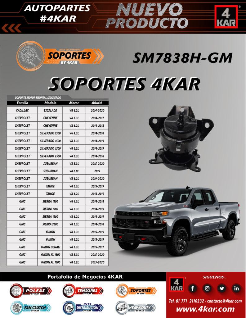 SM7838H-GM SOPORTE MOTOR FRONTAL IZQUIERDO SILVERADO 1500 CHEVROLET CADILLAC GMC
