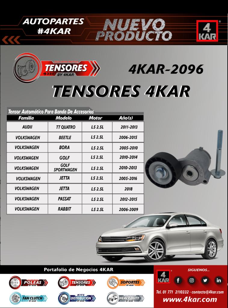 4KAR-2096 Tensor  AUDI TT QuattroL5 2.5L2011-2013 VOLKSWAGEN BeetleL5 2.5L2006-2015 BoraL5 2.5L2005-2010 GolfL5 2.5L2010-2014 Golf Sportwagen L5 2.5L2010-2013 Jetta L5 2.5L2005-2016 JettaL5 2.5L2018 PassatL5 2.5L2012-2015 RabbitL5 2.5L2006-2009