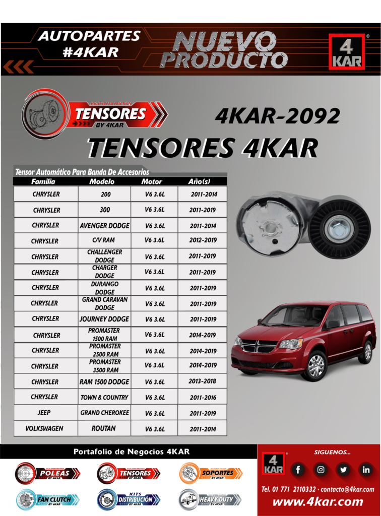 Tensor Automático Para Banda De Accesorios  CHRYSLER 200V6 3.6L2011-2014 300V6 3.6L2011-2019 Avenger DodgeV6 3.6L2011-2014 C/V RamV6 3.6L2012-2015 Challenger DodgeV6 3.6L2011-2019 Charger DodgeV6 3.6L2011-2019 Durango DodgeV6 3.6L2011-2019 Grand Caravan DodgeV6 3.6L2011-2019 Journey DodgeV6 3.6L2011-2019 Promaster 1500 RamV6 3.6L2014-2019 Promaster 2500 RamV6 3.6L2014-2019 Promaster 3500 RamV6 3.6L2014-2019 Ram 1500 DodgeV6 3.6L2013-2018 Town & CountryV6 3.6L2011-2016 JEEP Grand CherokeeV6 3.6L2011-2019 VOLKSWAGEN RoutanV6 3.6L2011-2014